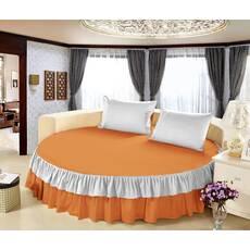 Цельная простынь-подзор на круглую кровать Модель 6 Медовый + Белый