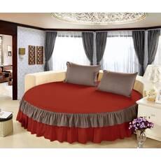 Простынь цельная - подзор на Круглую кровать Модель 6 Винный + Порох