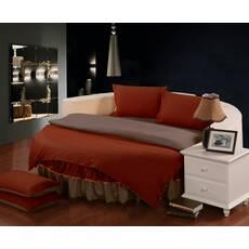 Комплект постельного белья с цельной простынью - подзором на Круглую кровать Винный + Порох