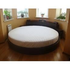 Круглая простынь на кровать Модель 2  БЕЛАЯ Стильные полоски