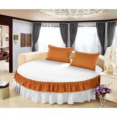 Цельная простынь-подзор на круглую кровать Модель 6 Белый + Медовый