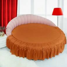 Цільне простирадло-підзор на кругле ліжко Модель 1 Медовий