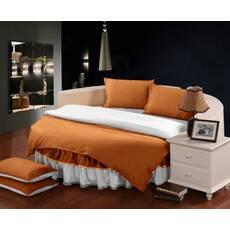 Комплект постільної білизни з цільним простирадлом-підзором на Кругле ліжко Медовий + Білий