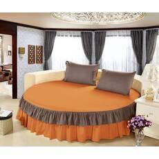Цільне простирадло-підзор на кругле ліжко Модель 6  Медовий + Порох