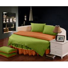 Комплект постельного белья с цельной простынью - подзором на Круглую кровать Салатовый + Медовый