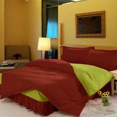 Комплект постельного белья с цельной простынью - подзором Винный + Салатовый