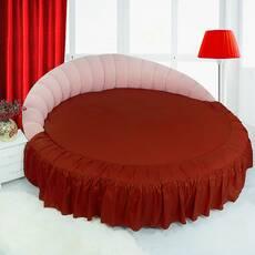 Простирадл цілісна - підзор на Кругле ліжко Винний Модель 1 з рюшів