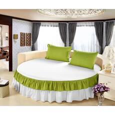 Цельная простынь-подзор на круглую кровать Модель 6  Белый + Салатовый