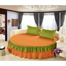 Цельная простынь-подзор на круглую кровать Модель 6  Медовый + Салатовый