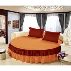 Цільне простирадло-підзор на кругле ліжко Модель 6 Медовий + Винний