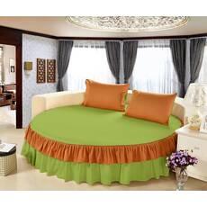 Цільне простирадло-підзор на кругле ліжко Модель  6 Салатовий + Медовий