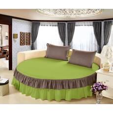 Цельная простынь-подзор на круглую кровать Модель 6 Салатовый + Порох