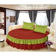 Простынь цельная - подзор на Круглую кровать Модель 6 Винный + Салатовый