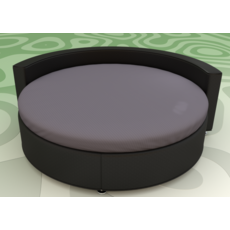 Круглая простынь на кровать Модель 2 Графит Стильные полоски