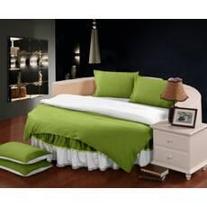 Комплект постельного белья с цельной простынью - подзором на Круглую кровать Салатовый + Белый