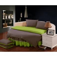 Комплект постільної білизни з цільним простирадлом-підзором на Кругле ліжко  Порох + Салатовий