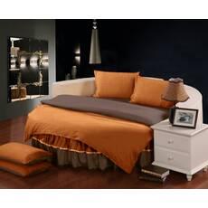 Комплект постільної білизни з цільним простирадлом-підзором на Кругле ліжко Медовий + Порох