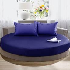 Круглая простынь на кровать Модель 2 Синяя