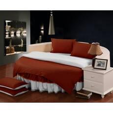 Комплект постельного белья с цельной простынью - подзором на Круглую кровать Винный + Белый
