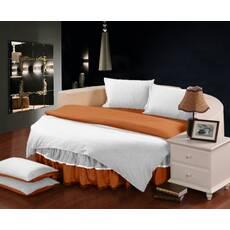 Комплект постільної білизни з цільним простирадлом-підзором на Кругле ліжко Білий + Медовий