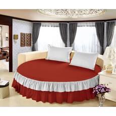 Цельная простынь-подзор на круглую кровать Модель 6  Винный + Белый