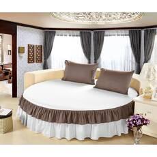Простынь цельная - подзор на Круглую кровать Модель 6 Белый + Порох