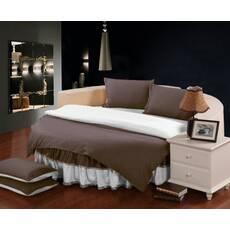 Комплект постільної білизни з цільним простирадлом-підзором на Кругле ліжко Порох + Білий