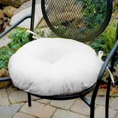 Декоративная подушка на сиденье модель 3 круглая на завязках Белый