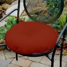 Декоративная подушка на сиденье модель 3 круглая на завязках Винный