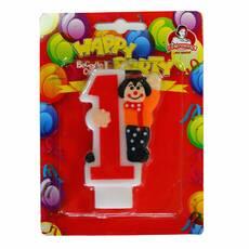 Свечи для торта Свечка циферка с клоуном 0-9, 8см