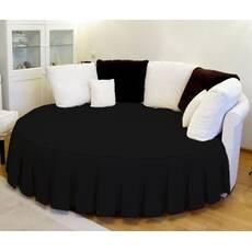 Покривало на кругле ліжко зі спідницею Чорне