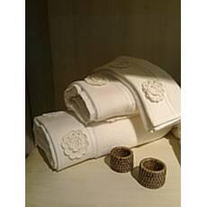 Полотенце махровое Елис с кружевными цветами Белое 50*100