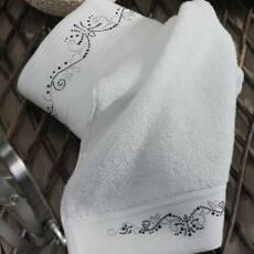 Рушник махровий з вишивкою Сараі Білий 70 * 140