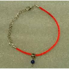 Красная нить-браслет с натуральным природным сапфиром 6 мм