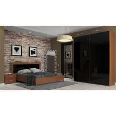 Мебель для спальни серии Белла (глянец черный/вишня бюзум)