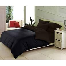 Двухсторонний постельный комплект Черный  + Коричневый
