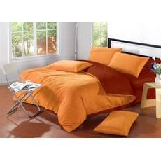Комплект постельного белья Двухсторонний Оранжевый + Винный