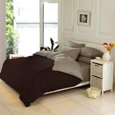 Двухсторонний комплект постельного белья Коричневый + Порох