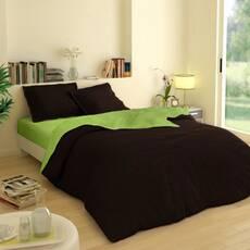 Двухсторонний комплект постельного белья Коричневый +  Салатовый