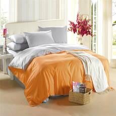 Двухсторонний постельный комплект Оранжевый + Белый