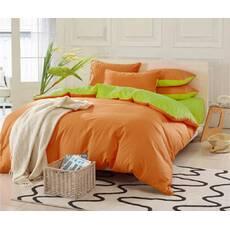Двухсторонний комплект постельного белья Оранжевый + Салатовый