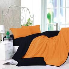 Двухсторонний комплект постельного белья Оранжевый + Черный
