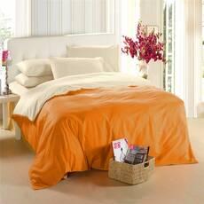 Двухстороннее постельное белье комплект Оранжевий + Шампань