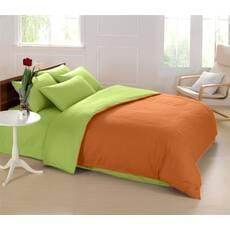 Подростковое двустороннее постельное белье Салатовый + Медовый