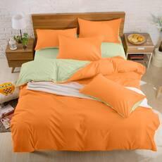 Подростковое двустороннее постельное белье Оранжевый + Олива
