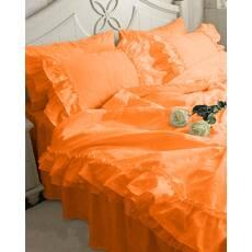 Постельное белье с двойной рюшей Премиум Оранжевый модель 2