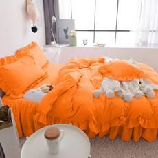 Постельное белье Оранжевое Премиум с Рюшей