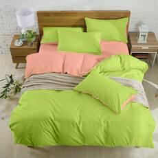 Подростковое двустороннее постельное белье Коралл + Салатовый