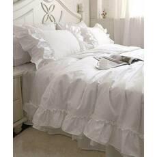 Постельное белье с двойной рюшей Премиум Белый модель 2
