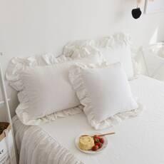 Комплект постельного белья Белый Премиум с Рюшей